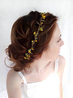 yellow flower hair accessory, olive green bridal headpiece, wedding hair circlet - MUSTARD SEED - flower girl hair accessories. $55.00, via Etsy.