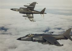 """uss-edsall: """"Two British Aerospace Sea Harrier FRS in flight. Nearest to the camera is of 801 Naval Air Squadron. The other aircraft is believed to be also of 801 NAS. Stealth Aircraft, Military Aircraft, Navy Carriers, British Aerospace, Close Air Support, Post War Era, Airplane Fighter, Falklands War, Air Photo"""