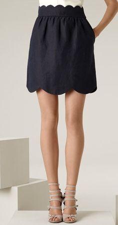 Scalloped black skirt