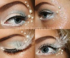 would love the silver glitter around the eye with the pearls. white eyeliner will be a must have