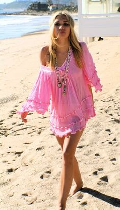 Pink boho beach coverup