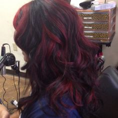 Chunky Vibrant Red Highlights with 1B base.    Used Kenra RR color booster
