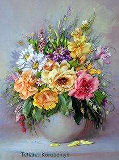 Ricamo  composizione di fiori  Silk ribbon di SilkRibbonembroidery, €85.00