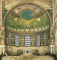 Saint Apollinaris amid sheep, apse mosaic, Church of Saint Apollinare in Classe, Ravenna, Italy, c. 533-549