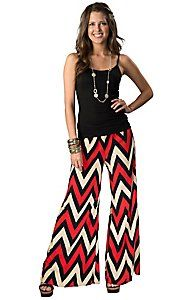 Karlie® Women's Red, Black and Cream Chevron Wide Leg Palazzo Pants