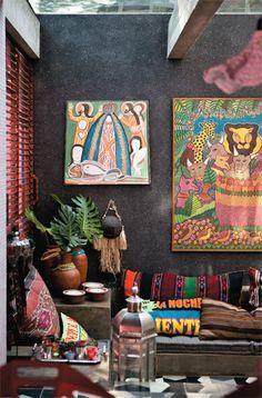 black walls cozy boho eclectic - Google Search
