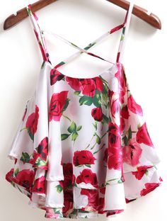 To find out about the rWhite Spaghetti Strap Rose Pint Ruffle Cami Top at SHEIN, part of our latest Tank Tops & Camis ready to shop online today! Fancy Tops, Cute Crop Tops, Cami Tops, Indian Fashion Dresses, Girls Fashion Clothes, Teen Fashion Outfits, Crop Top Outfits, Cute Casual Outfits, Pretty Outfits