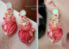 Earrings, designed by Serena Di Mercione. - Shibori silk, soutache, swarovski, pearls.