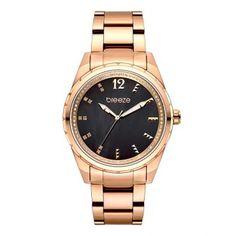 Γυναικείο κομψό αδιάβροχo ρολόι BREEZE Estelle 210921.6 με καντράν από  μαύρο φίλντισι και ροζ επίχρυσο μπρασελέ 001a1e0e24c