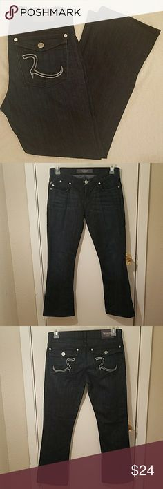 """Rock and Republic Dark Wash Kurt Boot Cut Jeans Item is in excellent condition. No rips, stains, snags or tears.  Waist 16""""  Length 38""""  Inseam 28"""" Rock & Republic Jeans Boot Cut"""