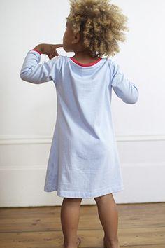 d87f22722de Organic Cotton   Modal Girls Shift Dress - Cashmere Blue   Tomato Puree Red  Our Kids
