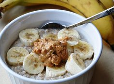 Banana and Peanut Butter Oatmeal (www.honeywhatscooking.com has delicious healthy recipes for any occasion) enjoy :)