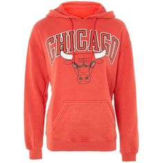 Chicago Bulls Hoodie by Unk X Topshop ($35) ❤ liked on Polyvore featuring tops, hoodies, red, chicago bulls hoodies, red top, red hoodie, sport top and cotton hooded sweatshirt