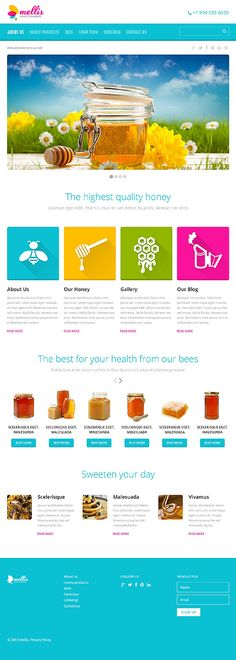 Responsive JavaScript Animated #template // Regular price: $69 // Unique price: $4100 // Sources available: .HTML,  .PSD #Food #Drink #tablet #smartphone #responsive #honey #sweet #health