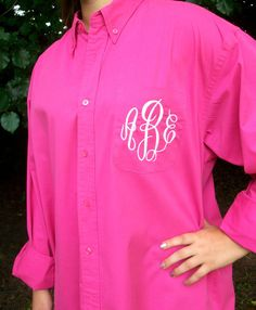 Monogrammed Button Down shirt, Bride or Bridesmaid, 30 Colors to choose from, Wedding day party cover up,