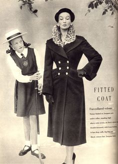 Victor Steibel at Jacqmar black fitted coat with ocelot collar and nipped waist. September 1950.