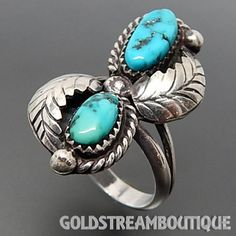 VINTAGE NAVAJO 925 SILVER TURQUOISE FEATHERS BYPASS SHADOWBOX RING (7.75) #6745