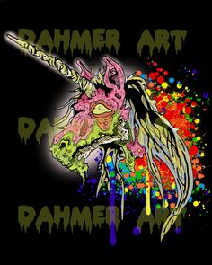 Unicorns, Zombies, Dahmer Art, Illustration, Lowbrow Art, Rainbows, Horror, Comic Books, Graphic Novels, Colors, Colorful, Crazy, Pink.