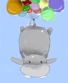 balloon, colorful, fly, free, fun, hippo, illustration