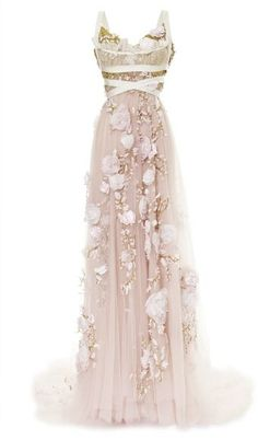 Marchesa 3d Silk Ribbon Rose Empire Waist Gown #wedding #dress