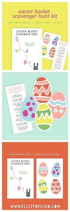 Printable Easter Basket Scavenger Hunt - Super fun idea for Easter morning. Help delay the Easter basket gratification for a few minutes with this scavenger hunt activity!