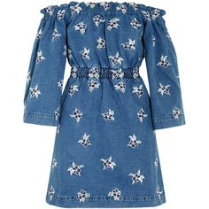 House of Holland Off-the-shoulder embroidered denim mini dress found on Polyvore featuring dresses, denim, house of holland, blue, embroidered dress, short floral dresses, blue dress, blue denim dress and short dresses