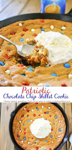Patriotic Chocolate Chip Skillet Cookie is much like a Pizookie. A giant, thick & chewy chocolate chip cookie baked in an iron skillet with patriotic M&M's. It's absolutely INCREDIBLE! (& so easy too- mix, dump, bake, enjoy) #IDelight #ad @inter