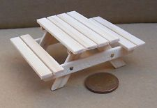 I can do this with sticks!!!  1:24th Scale Natural Wooden Pub Garden Table Dolls House Miniature Furniture da