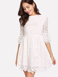 804afaaaec052 Flounce Sleeve Lace Dress -SheIn(Sheinside) Lace Dress With Sleeves, Dress  Lace