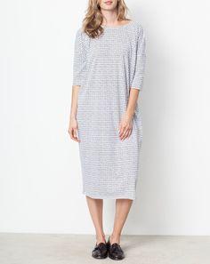 Ilana Kohn Jersey Maxi Dress in White Grid