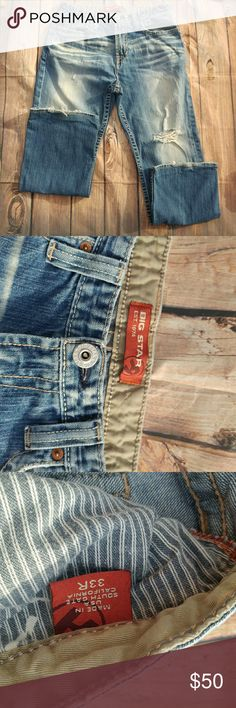 Big Star Men's Jeans Size 33R jeans. Hole on the knee and a little stain under the hole shown in the 4th pic. Very unoticable. There is some wear on the bottom leg holes. Big Star Jeans Relaxed