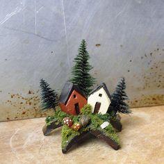 Tiny Alpine Fairy Houses Upon a Star  Miniature by bewilderandpine, $20.00
