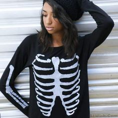 Wow~ Awesome Womens Skull Printing Embroidery Sweater Sweatshirt Top! It only $19.99 at www.AtWish.com! I like it so much<3<3!