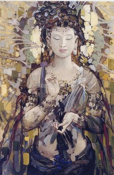 Kuan Yin or Kwan-yin: (Buddhism) a female Bodhisattva; often called goddess of mercy and considered an aspect of the Bodhisattva Avalokitesvara; identified with Japanese Kwannon Art Buddha, Buddha Kunst, Buddha Canvas, Buddha Painting, Buddha Buddhism, Oil Painting On Canvas, Buddha Quote, China Painting, Oil Paintings