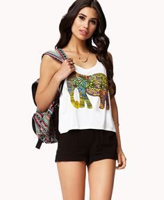 Technicolor Elephant Tank | FOREVER21 #Graphic tee #Summer #Neon