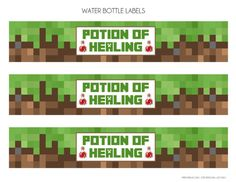 minecraft free printable food labels   Minecraft Party Printables   FREE Minecraft Party Printables from ...