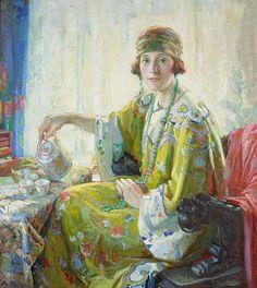 Five O'clock Tea (A Portrait of Mrs. Elwood Riggs) by Christian von Schneidau.