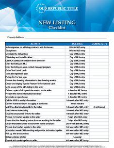 Real Estate Checklist | Listing | Real Estate Forms | Realtor ...