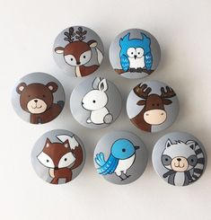 Woodland animal knobs large dresser knobs forest animal etsy words lists for your writing center this list is woodland forest animals Pebble Painting, Pebble Art, Stone Painting, Rock Painting Patterns, Rock Painting Designs, Stone Crafts, Rock Crafts, Forest Animals, Woodland Animals