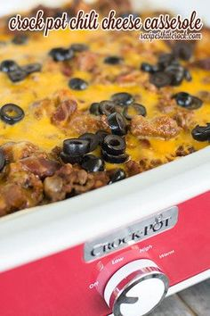 This Slow Cooker Chili Cheese Casserole is a great choice for lazy nights. This chili cheese casserole recipe tastes delicious and is so easy to make. Try this chili cheese bake out on your hungry kids and watch it disappear. Burrito Casserole, Slow Cooker Casserole, Slow Cooker Chili, Crock Pot Slow Cooker, Crock Pot Cooking, Casserole Recipes, Slow Cooker Recipes, Crockpot Recipes, Cooking Recipes