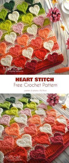 Multicolored Hearts Stitch Free Crochet Pattern Hearts are the mos. - Multicolored Hearts Stitch Free Crochet Pattern Hearts are the most beloved motif eve - Crochet Afghans, Crochet Motifs, Crochet Stitches Patterns, Free Crochet, Knitting Patterns, Pattern Sewing, Knitting Ideas, Knitting Projects, Crochet Projects