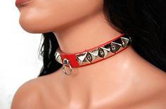 Bondage Halsband Pyramidennieten & Ring (Rot) | 122