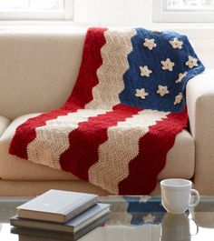 American Flag crochet blanket. Love this FREE! pattern.