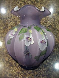 Fenton Purple Lavender Ruffle Vase Hand Painted Floral Signed Glass Flower White