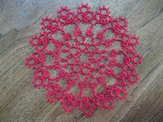 New Handmade Tatted Doily Measures approx. 9 inches Color: Red Thread Size: #10 cotton Pet free/smoke free home