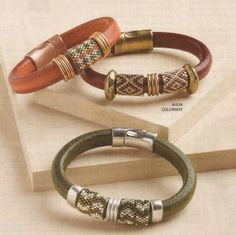 Pam Kearns' neat Boho Bangle (leather, findings and peyote-stitched bead cylinders) - in Beadwork Jun-July 2013