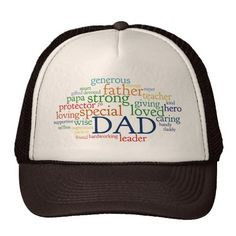 Dad Word Cloud Text Father's Day Typography Trucker Hat and more personalized gifts for exceptional Dads
