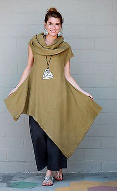 BRYN-WALKER-Light-Linen-NOA-TUNIC-Long-Angle-Hem-Dress-S-M-L-XL-QUINOA