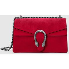 Gucci Dionysus Suede Shoulder Bag ($2,270) ❤ liked on Polyvore featuring bags, handbags, shoulder bags, red, structured handbag, suede handbags, chain shoulder bag, suede purse and red shoulder bag