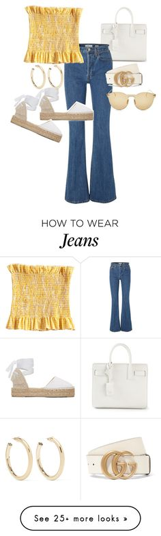 """Untitled #23698"" by florencia95 on Polyvore featuring Yves Saint Laurent, RE/DONE, Manebí, Illesteva, Gucci and Kenneth Jay Lane"